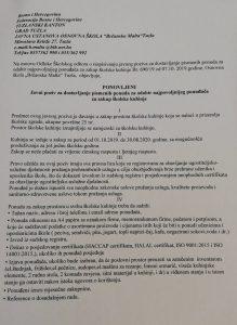 Javni poziv za dostavljanje pismenih ponuda za odabir napovoljnijeg ponuđača za zakup školske kuhinje